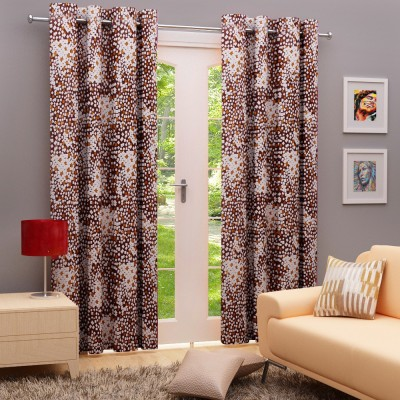 Angrezi Home Polyester Brown/White Geometric Eyelet Long Door Curtain