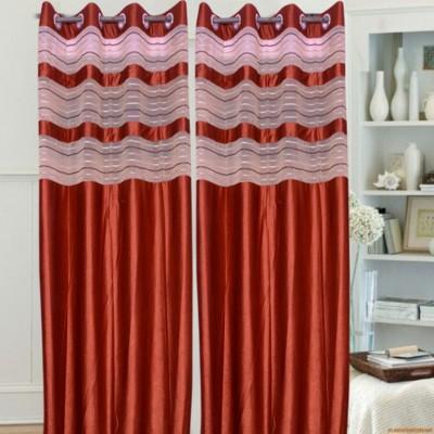 Brabuon Polyester Red Plain Eyelet Long Door Curtain