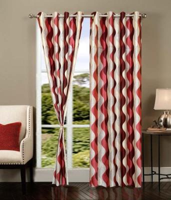 Sanaya Polyester Red Printed Eyelet Door Curtain