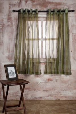Marigold Polyester Dark Green Striped Curtain Window Curtain