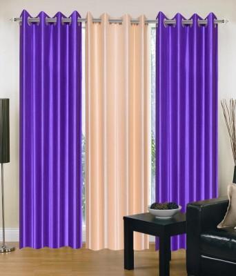 JTInternational Polyester Multicolor Striped Eyelet Door Curtain