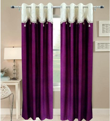 Fresh From Loom Polyester Purple Abstract Eyelet Door Curtain