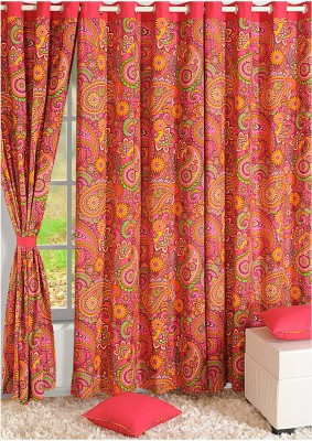 Swayam Cotton Pink, Green, Orange Solid Eyelet Door Curtain