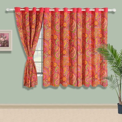 Swayam Cotton Pink, Green, Orange Floral Eyelet Window Curtain