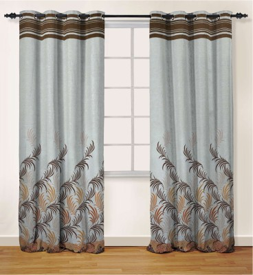 Oro Decor Polyester Burnt Orange Floral Eyelet Door Curtain