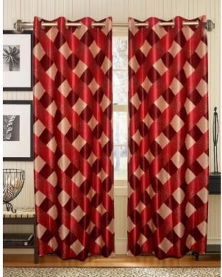 HandloomVilla Polyester Maroon Abstract Eyelet Door Curtain