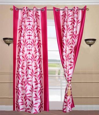 JTInternational Polyester Pink Floral Eyelet Door Curtain