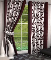Home Pictures Polyester Brown Abstract Ring Rod Door Curtain(213 cm in Height, Pack of 2)