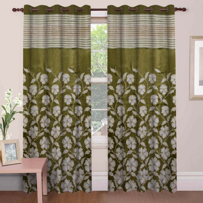 Mdf Curtains Polycotton Green Floral Eyelet Door Curtain