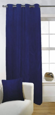 Fabutex Polyester Blue Solid Eyelet Door Curtain