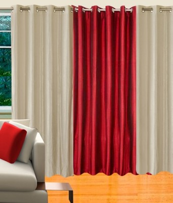 Hargunz Polycotton White, Maroon Solid Eyelet Long Door Curtain