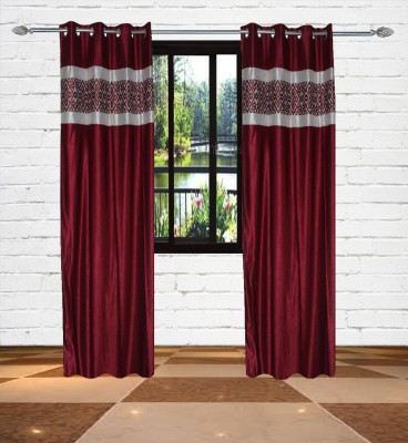 Gaurav Curtains Polyester Maroon Floral Eyelet Long Door Curtain