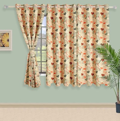 Swayam Satin, Silk Beige Printed Eyelet Window Curtain