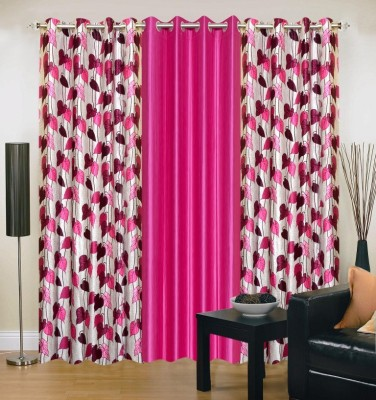 Brand Decor Polyester Pink Floral Eyelet Window Curtain