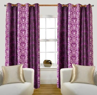 Glamora Interiors Polyester Purple Printed Eyelet Window & Door Curtain