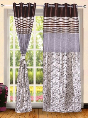 Wind Drape Polyester Coffee Striped Ring Rod Door Curtain