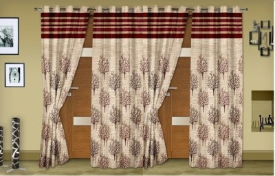 Rangoli Home Jacquard Red Self Design Eyelet Long Door Curtain