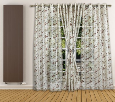 Ariana Tissue Rust Floral Curtain Window Curtain