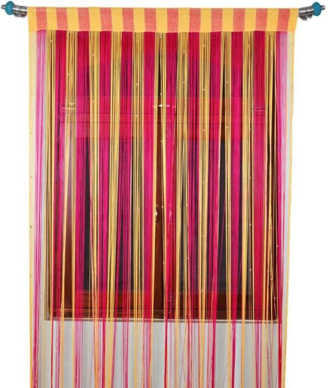 Export Hub Polyester Pink, Cream Self Design Rod pocket Long Door Curtain(275 cm in Height, Single Curtain)