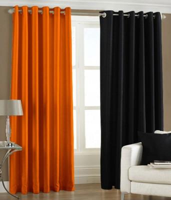 Daddu Enterprises Polyester Orange, Black Plain Eyelet Long Door Curtain