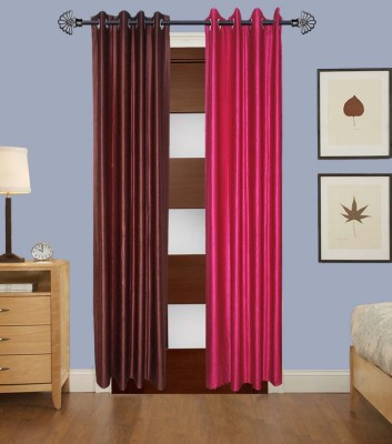 Home Fashion Gallery Polyester Brown, Pink Plain Eyelet Long Door Curtain