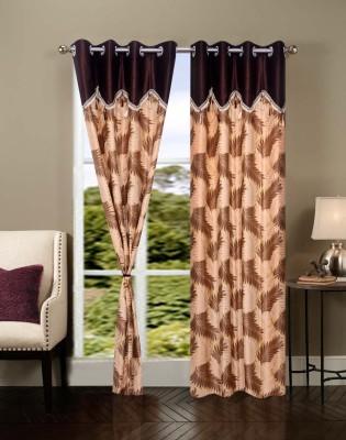 Shopgrab Polycotton Beige, Brown Printed Eyelet Door Curtain