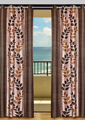 HOME-AID Polyester Brown Geometric Ring Rod Door Curtain