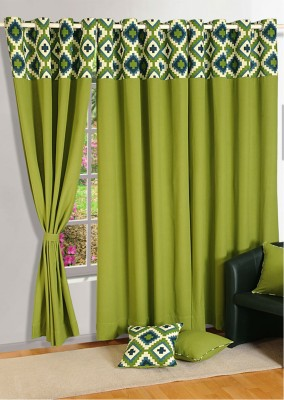 Swayam Cotton Green Floral Eyelet Door Curtain