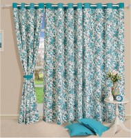 Swayam Cotton Blue, White Geometric Eyelet Door Curtain(228.6 cm in Height, Single Curtain)