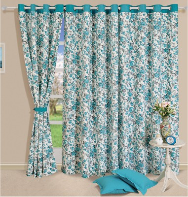 Swayam Cotton Blue, White Geometric Eyelet Door Curtain
