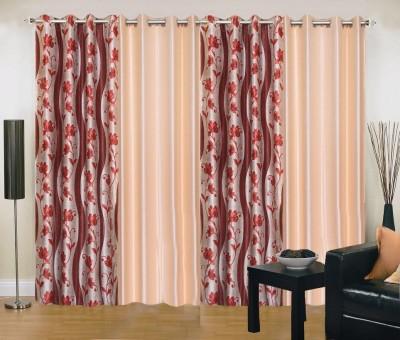 New Trends Polyester Maroon, Beige Printed Eyelet Long Door Curtain