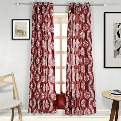 Splendid Polyester Red Floral Eyelet Long Door Curtain