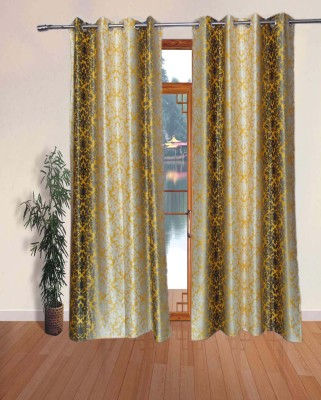 Fabbig Polyester Yellow Printed Eyelet Door Curtain