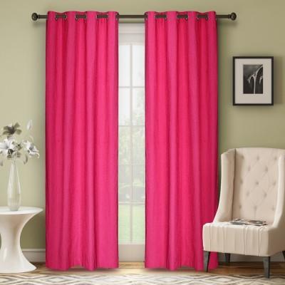 Soumya Polycotton Pink Plain Eyelet Window Curtain