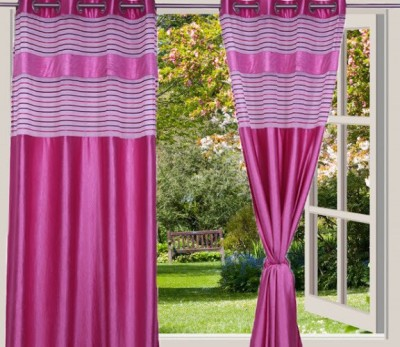 Desire Polyester Pink Solid Eyelet Door Curtain