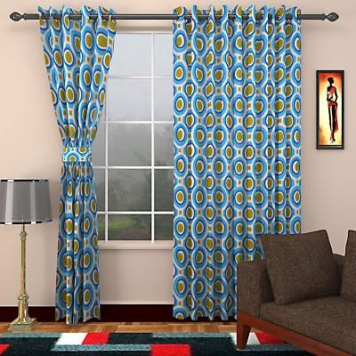 SEVEN STARS Cotton Blue Abstract Eyelet Door Curtain