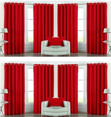 Galaxy Decorations Polyester Red Plain Eyelet Door Curtain