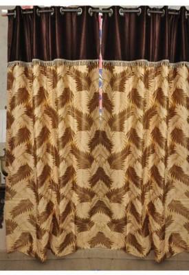 Handloom Hut Polyester Brown Self Design Eyelet Window Curtain