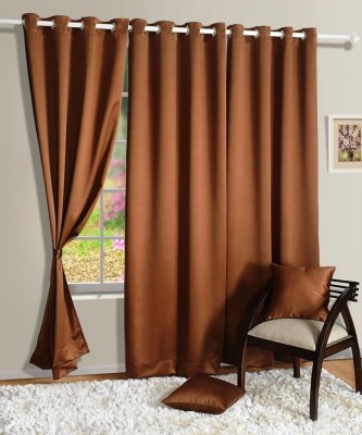 Homec Polyester Brown Solid Eyelet Window Curtain