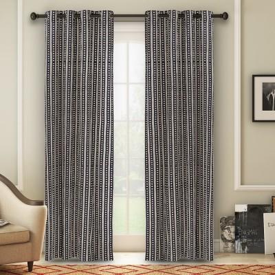 Soumya Polycotton Black Plain Eyelet Window Curtain
