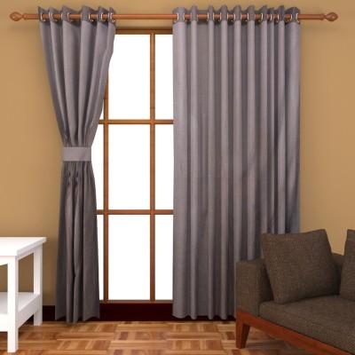 Royal Shri Om Polyester Grey Self Design Eyelet Door Curtain