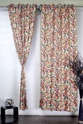 Tudu Polyester Multicolor Floral Eyelet Door Curtain