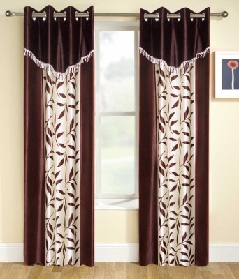 Export Hub Polyester Brown Printed Eyelet Door Curtain