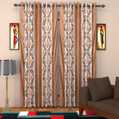 SurprizeMe Polyester Brown Printed Eyelet Long Door Curtain