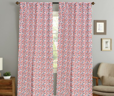 COLORS FOR LIVING Cotton Orange, Grey Floral Concealed Tab Top Window Curtain