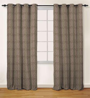 Oro Decor Polyester Lavender Geometric Eyelet Long Door Curtain