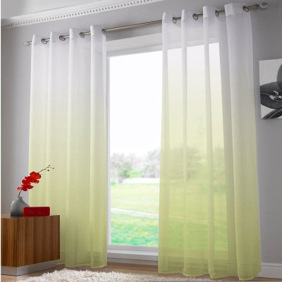 Right Polyester White, Yellow Abstract Eyelet Door Curtain