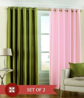 The Decor Hub Polyester Green, Baby Pink Plain Eyelet Window Curtain