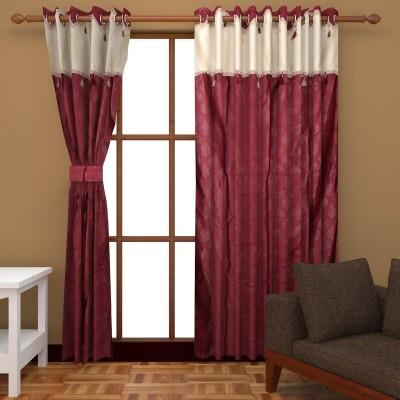 Royal Shri Om Polyester Maroon Self Design Eyelet Door Curtain