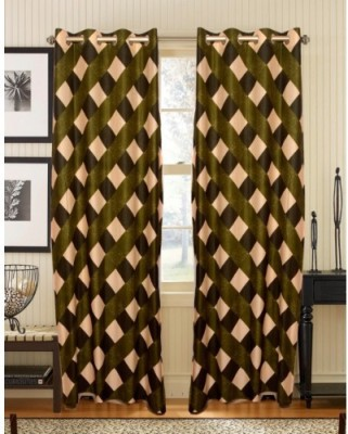Attractivehomes Polyester Multicolor Checkered Eyelet Door Curtain